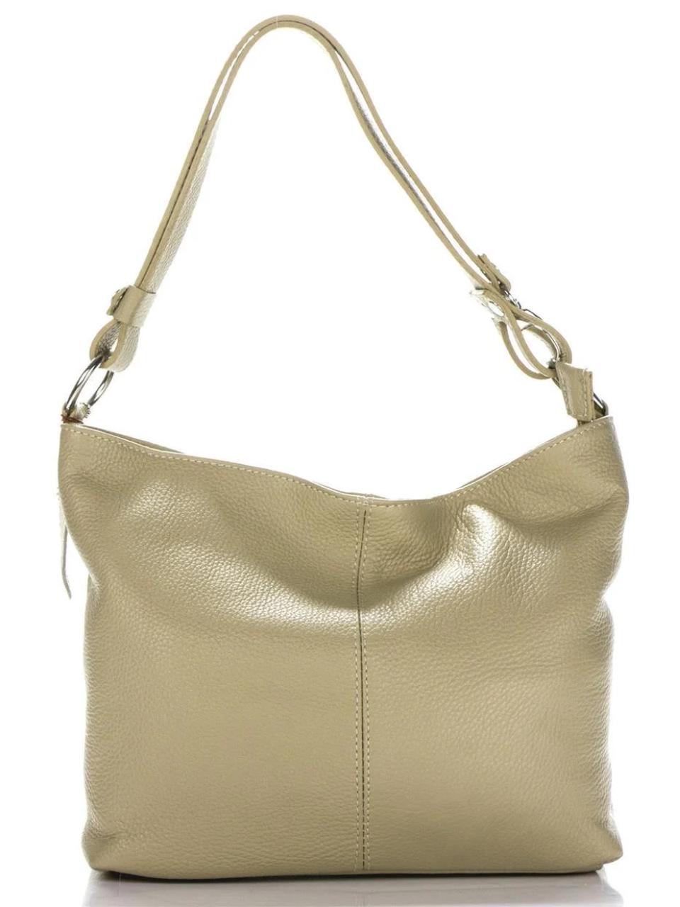 Женская итальянская натуральная кожаная сумка бежевая 24х26х13