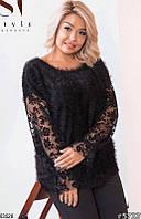 Кофта красивая нарядная женская демисезонная сетка с флоковым рисунком/трикотаж -травка 48-62р.