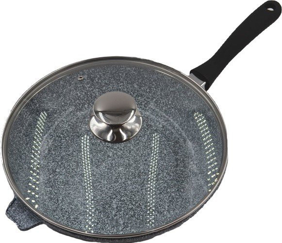 Сковорода литая WOK с антипригарным гранитным покрытием Benson BN-521 (28*7см) | сковородка вок
