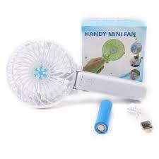 Портативный ручной или настольный мини вентилятор с USB зарядкой Mini Fan белый