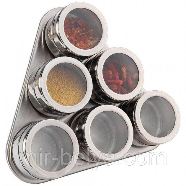 Набор для специй на магните Spice BN-006 6 шт для емкостей и подставка