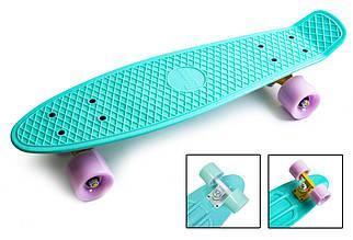 Скейт Пенні борд Penny Board Original 22 бірюзова дошка фіолетові колеса