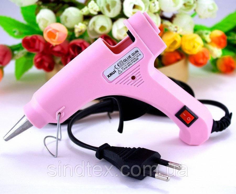 Клеевой пистолет под 7мм стержни, 20W c кнопкой  XR-E20W Цвет - Розовый (сп7нг-4877)