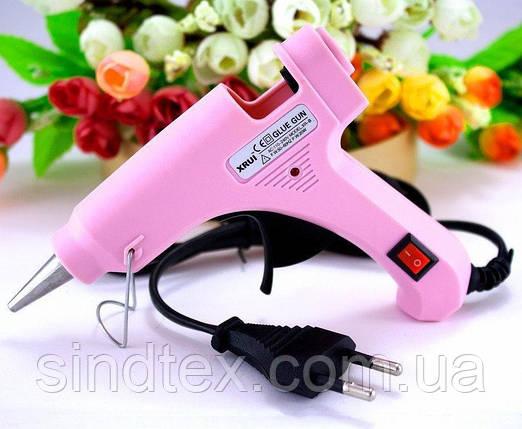 Клеевой пистолет под 7мм стержни, 20W c кнопкой  XR-E20W Цвет - Розовый (сп7нг-4877), фото 2