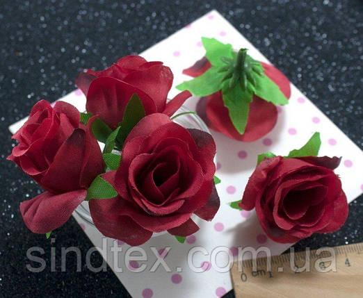 """(10шт) Головы цветов """"Роза"""" Ø35-40мм Цвет - Красный (сп7нг-2339), фото 2"""