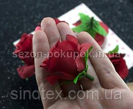 """(10шт) Головы цветов """"Роза"""" Ø35-40мм Цвет - Красный (сп7нг-2339), фото 3"""