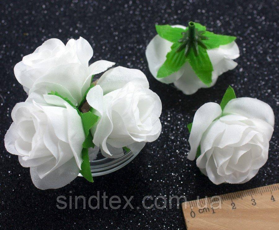 "(10шт) Головы цветов ""Роза"" Ø35-40мм Цвет - Белый однотонный (сп7нг-2342)"