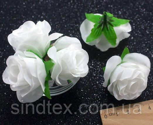 """(10шт) Головы цветов """"Роза"""" Ø35-40мм Цвет - Белый однотонный (сп7нг-2342), фото 2"""