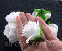 """(10шт) Головы цветов """"Роза"""" Ø35-40мм Цвет - Белый однотонный (сп7нг-2342), фото 3"""