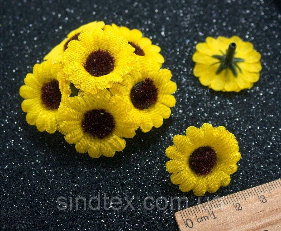 """(10шт) Головы цветов Ø28мм  """"Жёлтая ромашка"""" (сп7нг-0848)"""