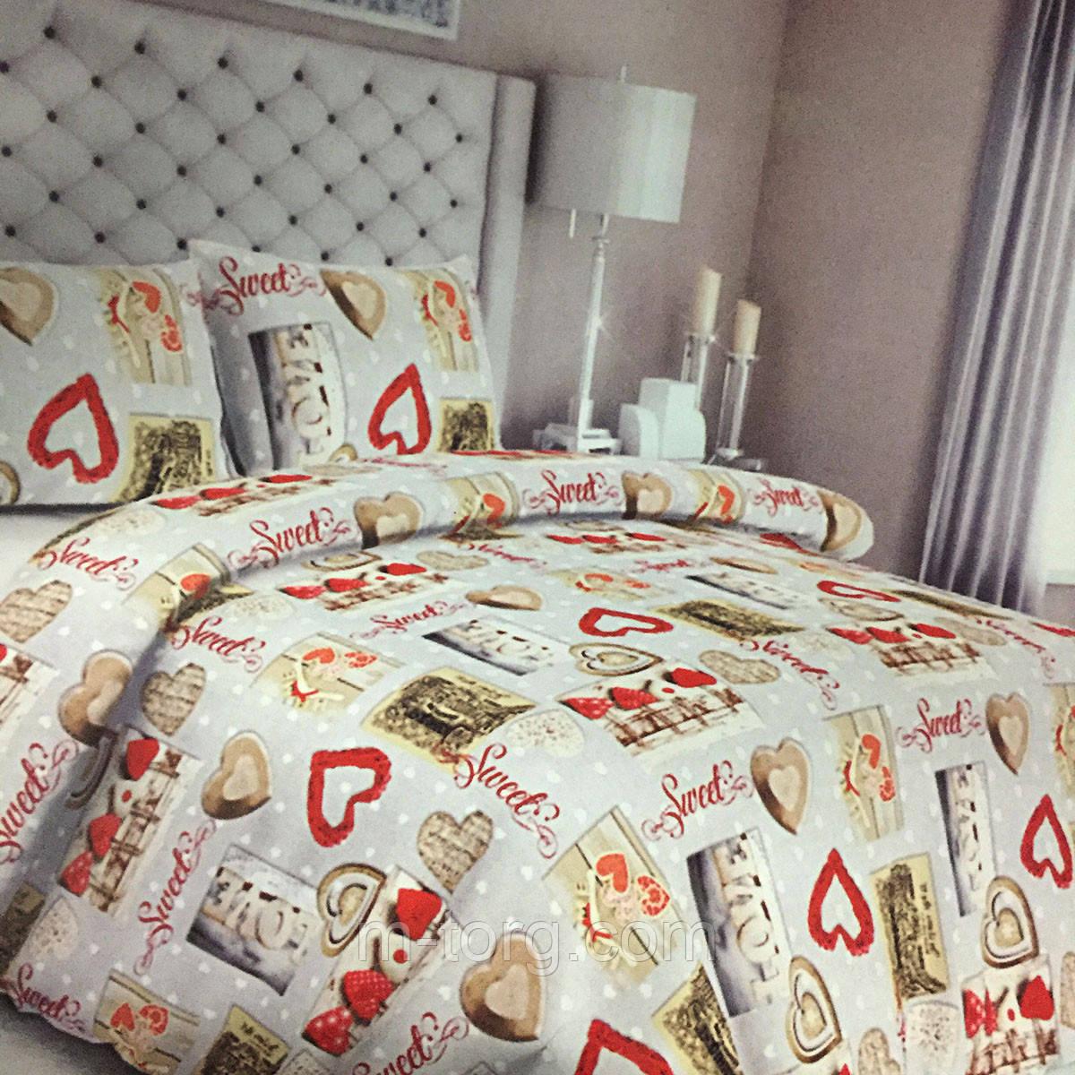 """""""Сердечки"""" Комплект постельного белья двуспальный 180/210, нав-ки 70/70, ткань сатин, 100% состоит из хлопка"""