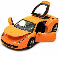 Машинка игровая автопром Ferrari 458 Желтый (3201C), фото 6