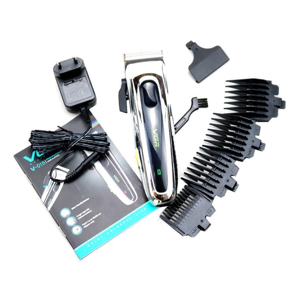 Профессиональная машинка для стрижки волос с насадками VGR V-018 LED дисплей   триммер для волос