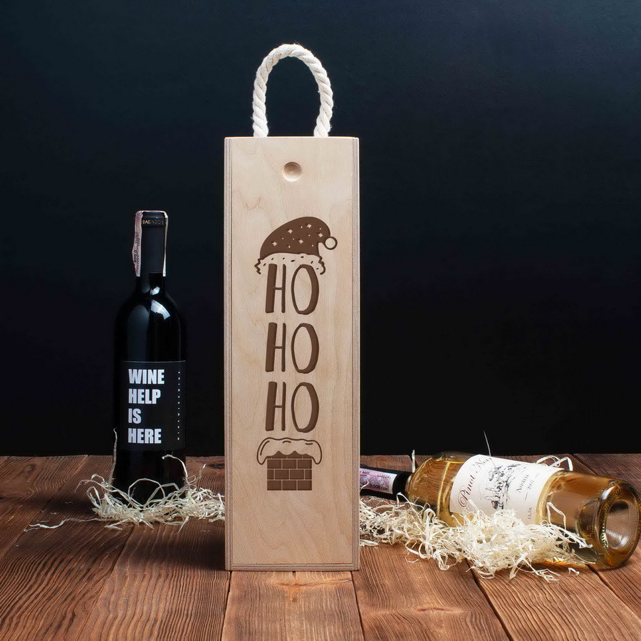 """Коробка для вина на одну бутылку """"Ho Ho Ho"""""""