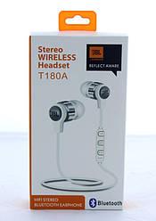 Наушники беспроводные stereo wireless headset MDR JBL T180A + BT | вакуумные вкладыши со встроенным микрофоном