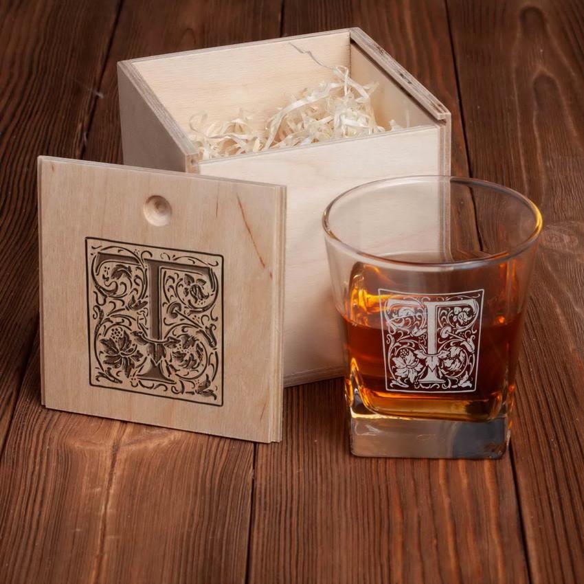 """Стакан для виски в деревянной коробке """"Вензель"""" персонализированный"""