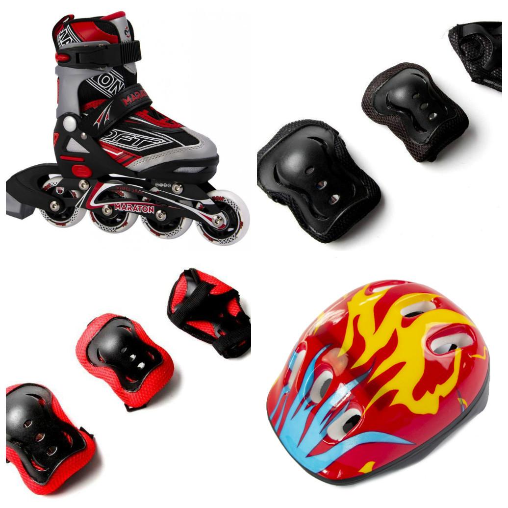 Комплект Maraton Soft (ролики, защита, детский шлем), красный, (27-30), (31-34), (35-38), (39-42)