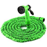 Шланг садовый поливочный X-hose 75 метров зеленый | растягивающийся шланг для полива Икз Хоз + насадка, фото 1