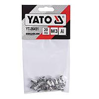 Заклепки резьбовые алюминиевые М3 9мм набор 20шт YATO (YT-36451)