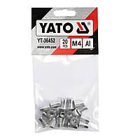 Заклепки резьбовые алюминиевые М4 11мм набор 20шт YATO (YT-36452)