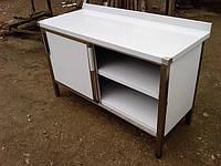 Столы производственные шкафные с дверцами-купэ и двумя полками, фото 1