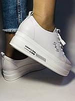 Стильні жіночі кеди-білі кросівки на платформі.Натуральна шкіра. Висока якість 37 Vellena, фото 2