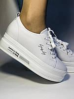 Стильні жіночі кеди-білі кросівки на платформі.Натуральна шкіра. Висока якість 37 Vellena, фото 4