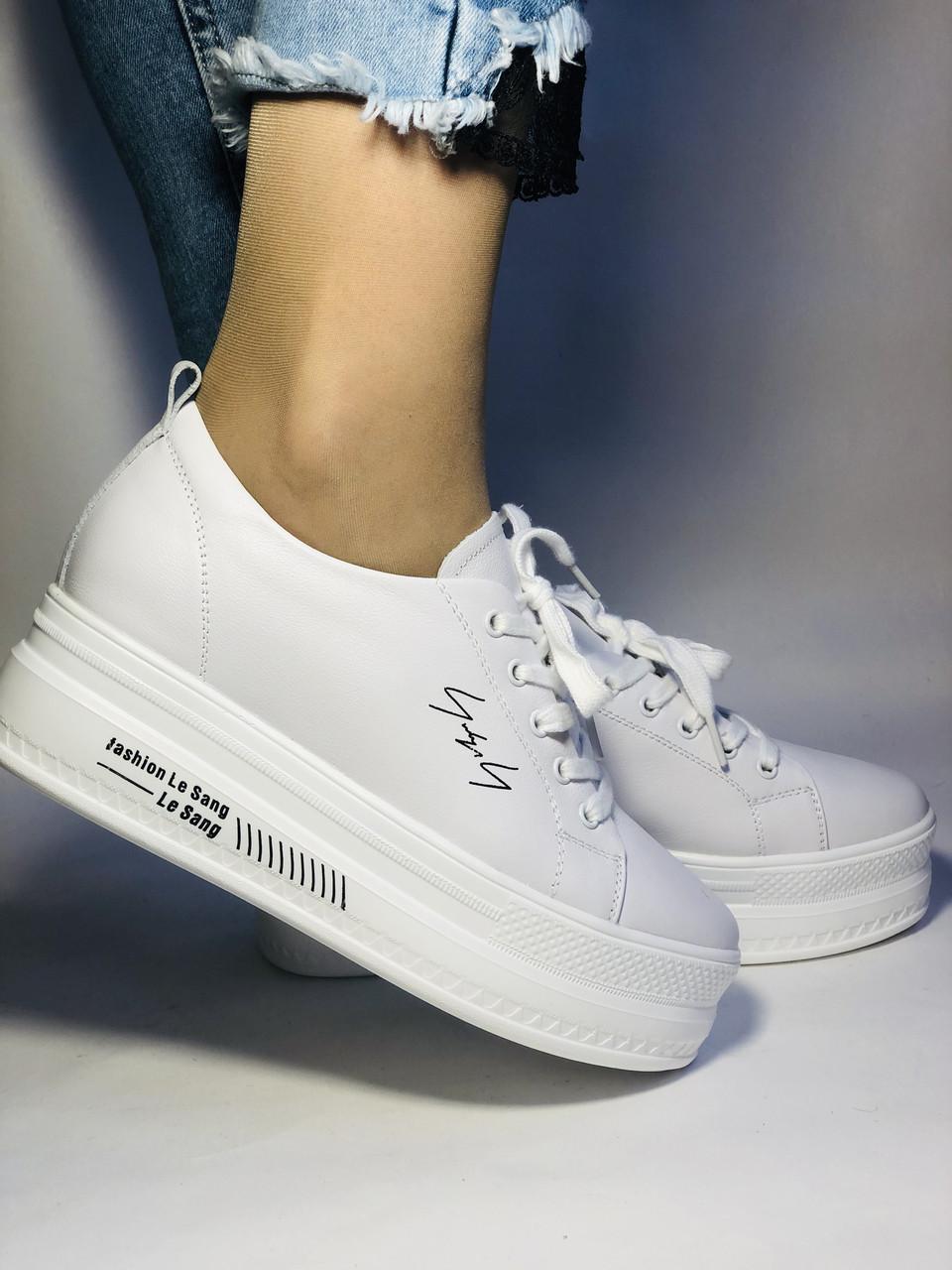 Стильные женские кеды-кроссовки белые на платформе.Натуральная кожа. Высокое качество  37 Vellena