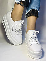 Стильні жіночі кеди-білі кросівки на платформі.Натуральна шкіра. Висока якість 37 Vellena, фото 3