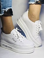 Стильні жіночі кеди-білі кросівки на платформі.Натуральна шкіра. Висока якість 37 Vellena, фото 9