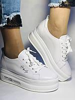Стильные женские кеды-кроссовки белые на платформе.Натуральная кожа. Высокое качество  37 Vellena, фото 9