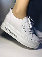 Стильные женские кеды-кроссовки белые на платформе.Натуральная кожа. Высокое качество  37 Vellena, фото 6
