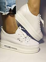 Стильные женские кеды-кроссовки белые на платформе.Натуральная кожа. Высокое качество  37 Vellena, фото 7