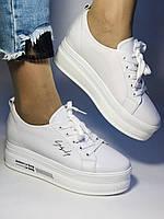 Стильні жіночі кеди-білі кросівки на платформі.Натуральна шкіра. Висока якість 37 Vellena, фото 5