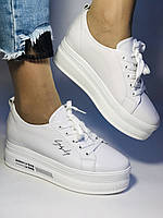 Стильные женские кеды-кроссовки белые на платформе.Натуральная кожа. Высокое качество  37 Vellena, фото 5