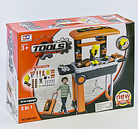 Набор инструментов в чемодане для мальчиков, модель 008-922, в коробке с элементами  игрушечных аксессуаров.
