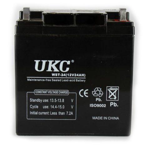 Герметичный кислотно-свинцовый аккумулятор UKC BATTERY 12V, 24А   аккумуляторная батарея