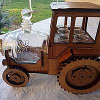 Міні-бар V.I.T. трактор із чарками та бочкою Коричневий (В-021)