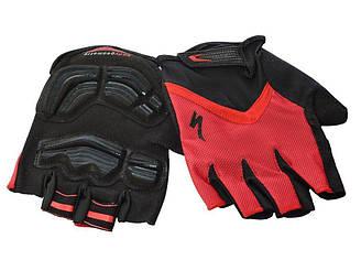 Перчатки с короткими пальцами и гелиевой подушечкой Geometry SPECIALIZED AS180056-15 Красные(размер: M, XL, L)
