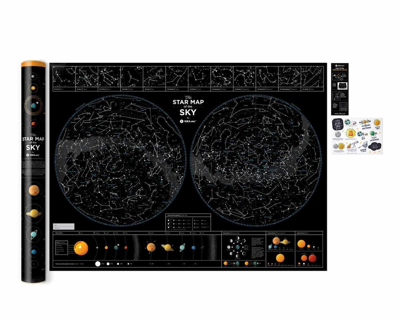 Светящаяся в темноте карта ночного небосвода Star map of the sky  карта неба   оригинальный подарок