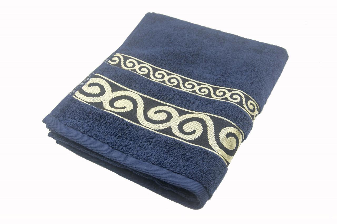 Полотенце махровое Parisa Касабланка 50х90 хлопковое темно-синий