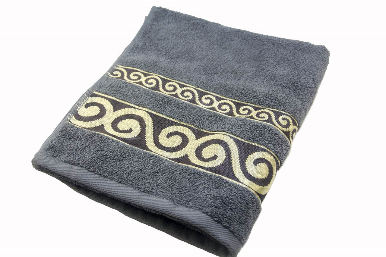 Полотенце махровое Parisa Касабланка 70х140 хлопковое серый