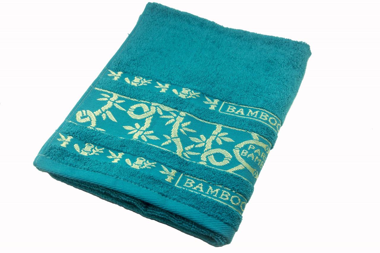 Полотенце махровое Parisa Бамбук 70х140 хлопковое голубой