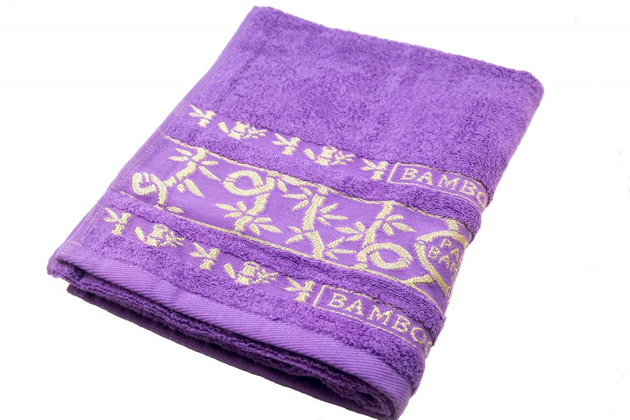 Полотенце махровое Parisa Бамбук 70х140 хлопковое фиолетовый