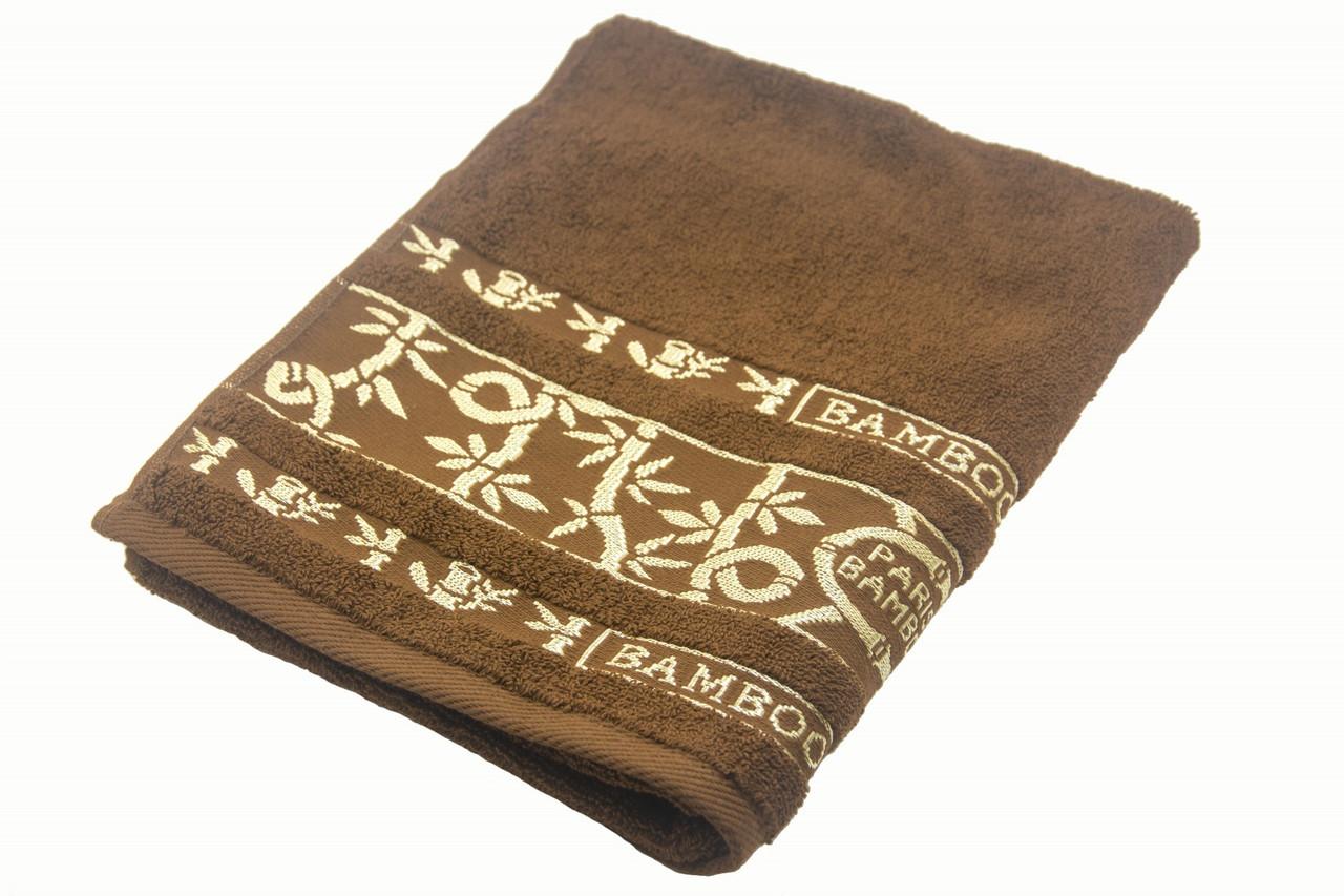 Полотенце махровое Parisa Бамбук 70х140 хлопковое коричневый