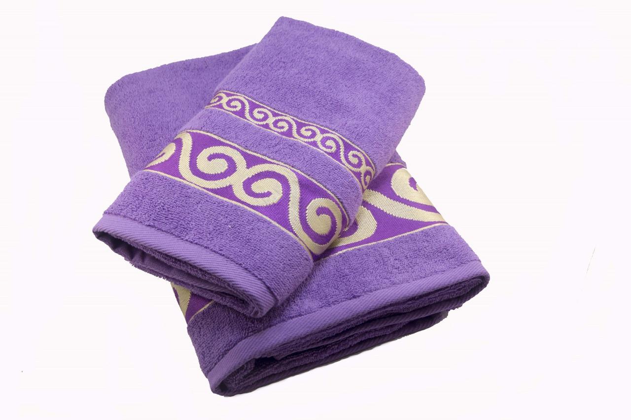 Набор махровых полотенец Parisa Касабланка хлопковые 50х90, 70х140 фиолетовый