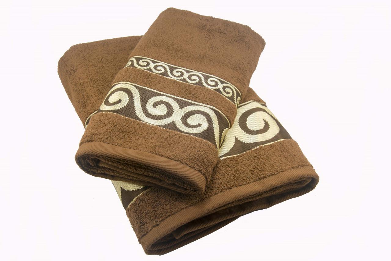 Набор махровых полотенец Parisa Касабланка хлопковые 50х90, 70х140 коричневый