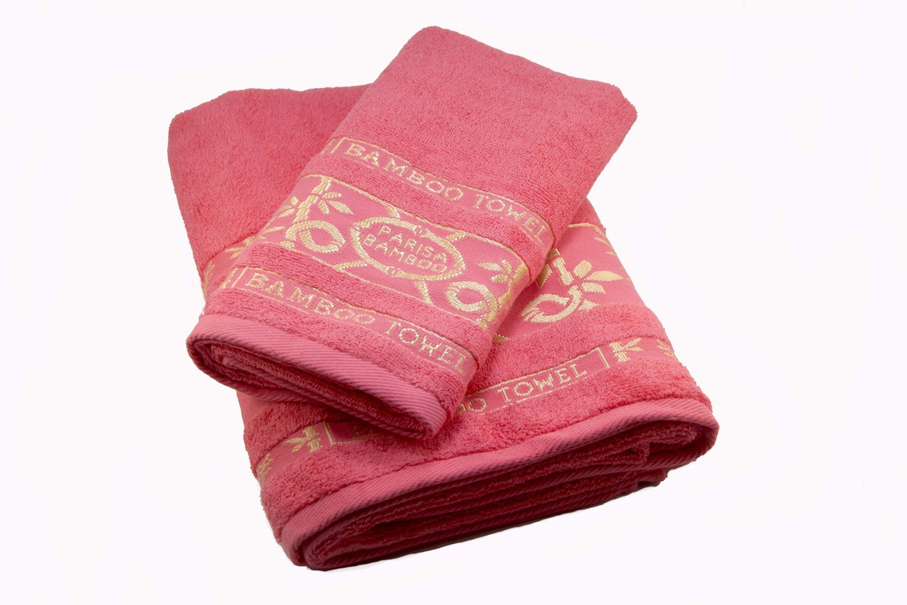 Набор махровых полотенец Parisa Бамбук хлопковые 50х90, 70х140 коралловый