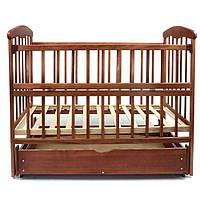 Детская кроватка с маятниковым механизмом и выдвижным ящиком Ясень темный Наталка