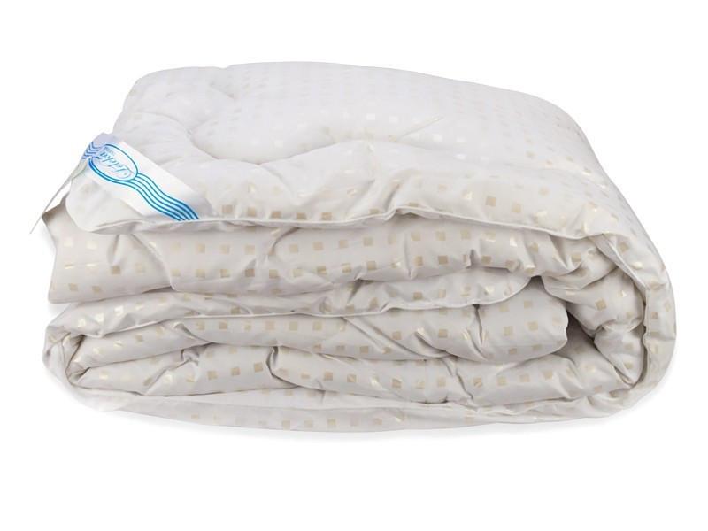 Одеяло Лебяжий Пух Leleka-Textile Полуторный 140х205 Белое в квадратик